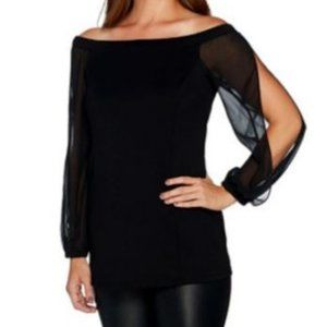 H by Halston Off the Shoulder Top Chiffon Sleeves